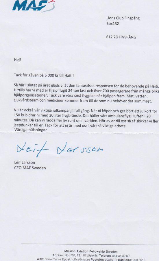 MAF brev 001